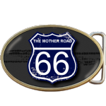 The Mother Road Route Buckle. Leather belt optional. Code A0092
